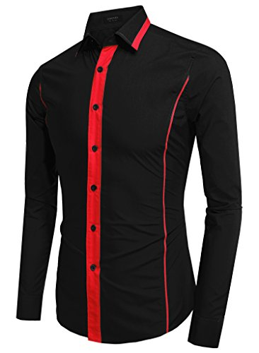 Aulei Herren Hemd slim fit coole Linien melierte Knopftleiste einzigartiges Design Schwarz