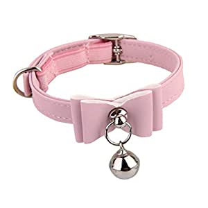 Newlly Adjustable Pet Kitten Cat Safety Collar Bell Buckle Neck (Pink)