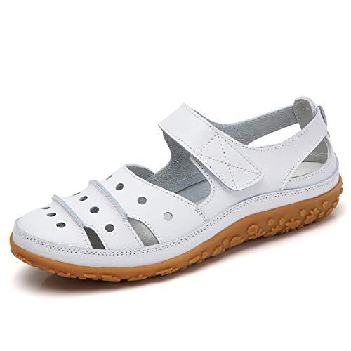 05489c30 Sandalias mujer de cuero planas cómodos casual mocasines loafers moda  zapatos plano verano sandalias y chanclas