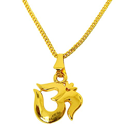 Surat Diamonds Om Religious Gold Plated Pendant for Women with Chain for All (SDS271)