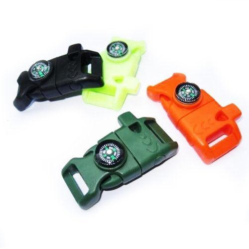 Preisvergleich Produktbild G-EDC Verschluss für Paracord-Armbänder, seitliche Entriegelung, mit Trillerpfeife, Schaber und Feuersteinstab