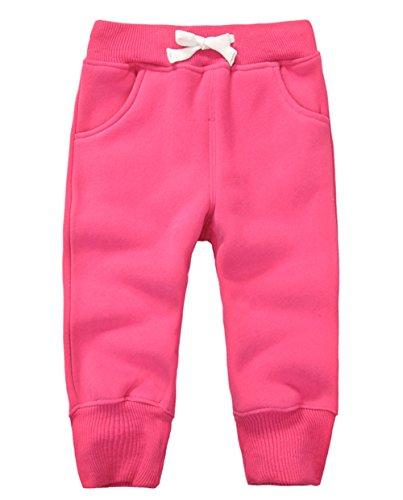 DELEY Unisexe Bébé Garçons Filles Pantalon En Coton Élastique Taille Enfants Pants L'Hiver Chauds Jogging Taille 4 ans Rose Rouge