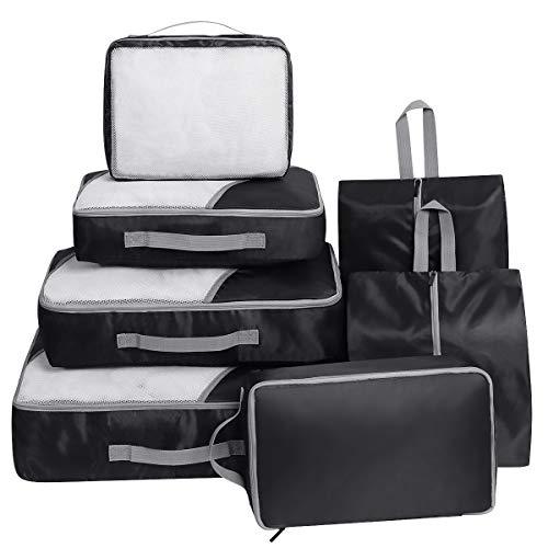 Set di 7 Organizzatori di viaggio, Imballaggio Cubi, Faxsthy Viaggio Dei Bagagli Organizzatore per i Vestiti Scarpa Cosmetico (Nero 5)