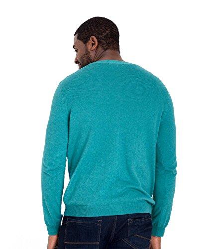 WoolOvers Klassische Strickjacke mit V-Kragen - Herren (Cotton-Cashmere) - C68 Soft Teal