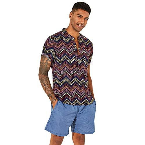friendGG❤Herren Hemden Outdoor Fun-T-Shirts Sport & Freizeit Herrenbekleidung Shirts Sommer Mode Top Ethnische gedruckte Standplatz-Kragen-Kurzschluss-Hülsen-verlieren Hemd-Bluse der Art- Weisemänner