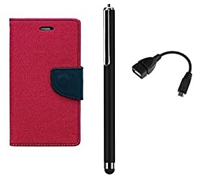 TOS Combo of Flip Cover with OTG Cable and Stylus for HTC Desire 820 Dark Pink