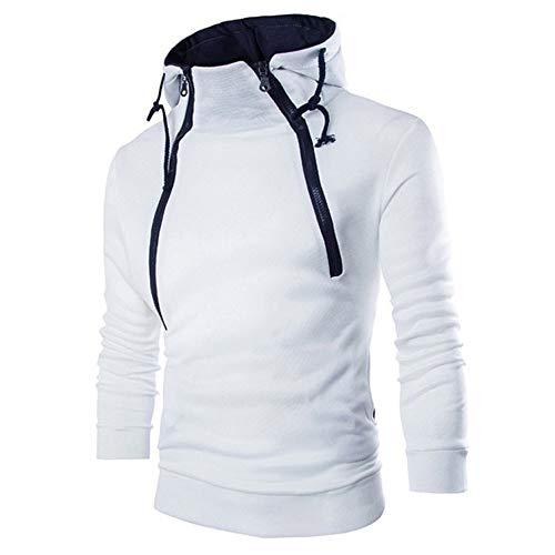 KPILP Herrenmode Langarmhemd Patchwork Hoodie Kapuzenpulli Top Tee Outwear Bluse Grundlegende Shirt(Weiß, XL