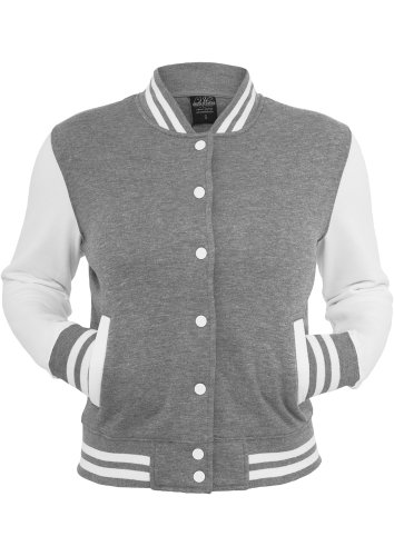 URBAN CLASSICS Ladies 2-tone College Sweatjacket, grey/white Grey/White
