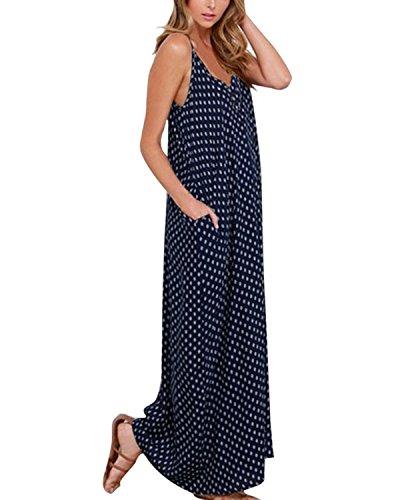Zanzea donne scollo a v pois tasca vestito lungo abito della boemia abito da sera del partito vestito mare vestito estivo (it 38, blu scuro)