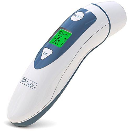 Ohr und Stirn Fieberthermometer by iProvèn - DMT-489 Digitales Medizinisches Thermometer für Baby Kinder Erwachsene mit Fieber Indikator - CE/FDA Zertifiziert - Testsieger 2018