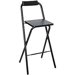 AC-Déco Chaise de Bar Pliable - Lot de 2 - Noir - Louna