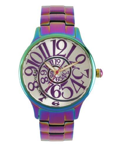 Betsey Johnson Damen Quarzuhr mit Silber Zifferblatt Analog-Anzeige und Edelstahl-Armband BJ00040–11