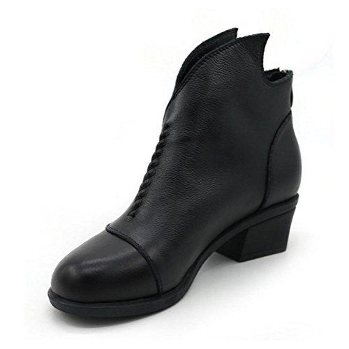 WYWQ Ladies Autunno Rough Mid Heel Stivaletti Stivali Testa Nuvolosi Indumenti Invernali Zip Zip Indietro black