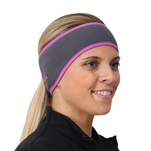 TrailHeads Pferdeschwanz-Stirnband für Damen | Ohrenwärmer aus Vlies | Stirnband für Winterläufe - grau/lila