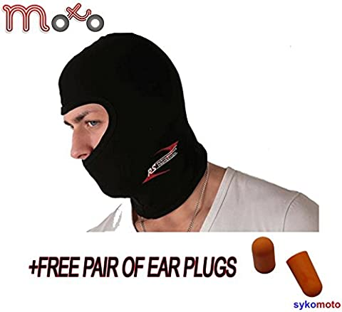 ONE 1 HOLE THERMAL BALACLAVA FACE MASK TUBE MOTORCYCLE MOTORBIKE + FREE PAIR OF EAR PLUGS