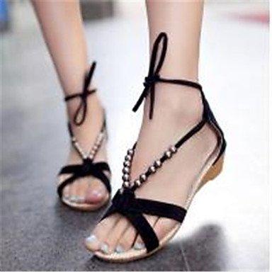 BELLR V Suede Damen Low Heel offener Schuh Sandalen Schuhe mit Perlen Black