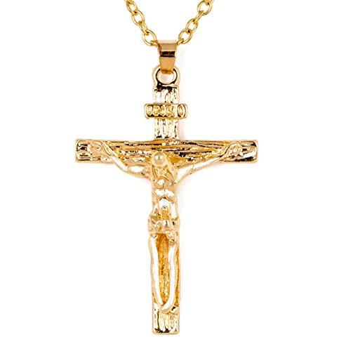EROSPA® Halskette mit Kreuz-Anhänger Kruzifix Jesus INRI - Damen/Herren - Gold