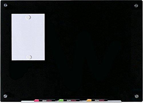 """Pizarra Negro Magnético de Borrado en Seco de Vidrio - 60 cm x 90 cm - 23 5/8"""" x 35 1/2"""" - Incluye Pizarra, 2 Imanes, y Bandeja en Aluminio para Marcadores"""