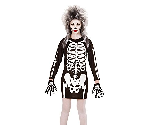 Widmann 00367 - Kinderkostüm Skelett Mädchen, Kleid, Gröߟe 140, (9 Halloween Mädchen Kostüme Für Jährige)