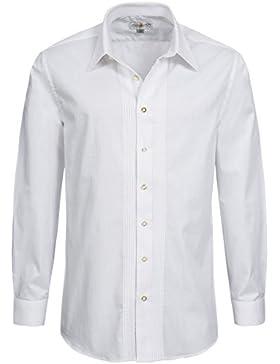 Trachtenhemd Slimline mit Biesen in Weiss von Almsach