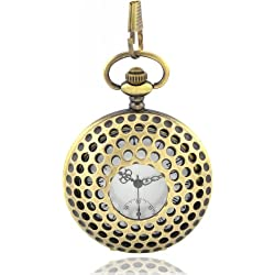 Bronze Pocket Watch & Chain Unique Design Honeycombe Golf Ball