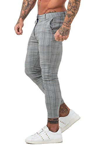 GINGTTO Herren Hose Gr. 32W, 29 Leg - Grey Plaid