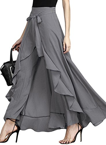 Asvivid Women's Chiffon High Split Tie-Waist Ruffle Long Loose Palazzo Pants Overlay Skirt