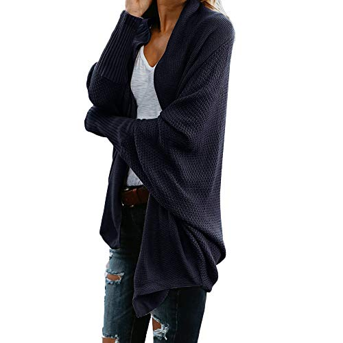 iHENGH Damen Cardigan Top,Women Lange ÄRmel Solid Color Casual Mantel Pullover Coat Strickjacke...