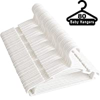 NORTHERN BROTHERS Clothes Hangers Baby Coat Hangers 80 Pack Plastic White Childrens Hangers with Trouser Skirt Bar for Baby Toddler Clothes Hanger