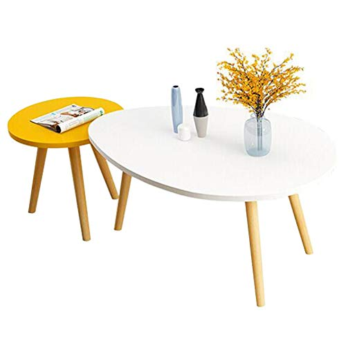 Tables CJC Set De 2 Café Canapé Côté, Vivant Pièce Rond Nidification, Balcon en Train De Lire, Accueil Bureau (Couleur : White/Yellow)