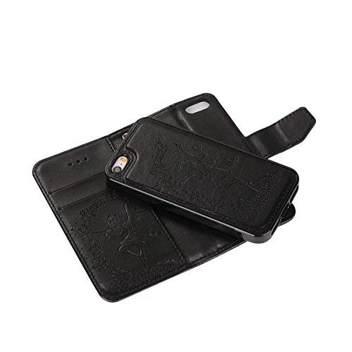 JIALUN-étui pour téléphone Étui en cuir PU détachable détachable 2 en 1 Crazy Horse Texture, avec caleçon et caisse en argent pour iPhone 5 et SE ( Color : Blue ) Black