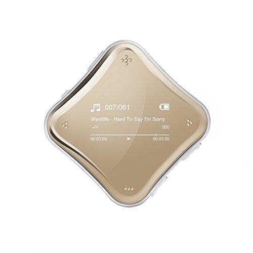 Galvanisiert Spielgelfläche 8GB MP3 Player 360 Grad Clip Musik Player mit FM, Aufnahme, 0,96 Zoll Display von AGPTEK A125, Champagner Golden