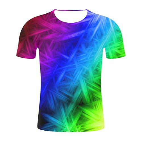 REALIKE Herren Kurzarm Tops 3D Drucker Mehrfarben Farbe Oberteil Basic O-Ausschnitt Lose T-Shirt Summer Sport Bequem Atmungsaktiv Viele Farben Blusen