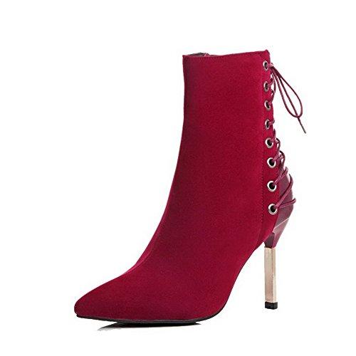 AgooLar Damen Rein Reißverschluss Spitz Zehe Hoher Absatz Stiefel mit Metallisch Rot