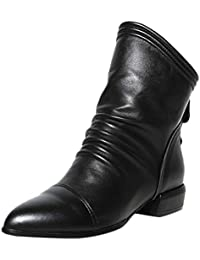 SamMoSon Boots For Women High Heels,Women Fashion Solid Ruffles Zip Boots Low Square Heel Boots Middle Boots Shoes...