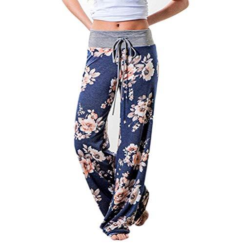 Yoga Hosen Damen Sonnena Frauen Mode Lose Fit Drucken Haremshose Pants Freizeit Elastische Taillen Übergröße Hosen Beiläufige Breite Leggings Freizeithose Sporthosen Bleistifthose (2XL, Blau 2)