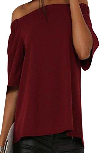 erdbeerloft - Damen Schulterfreie Casual Oversize Bluse, XS-XL, Viele Farben Bordeaux