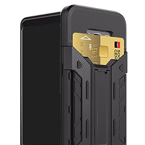 Armor® | Coque pour Samsung Galaxy S8 Injustice® Limited Edition | Porte Cartes | Ultra Résistante | Anti Chocs | Anti Rayures | AAA+ Quality | Noire | Fibre de Carbone | Pivot à l'arrière | Mode Cinéma | Très légère