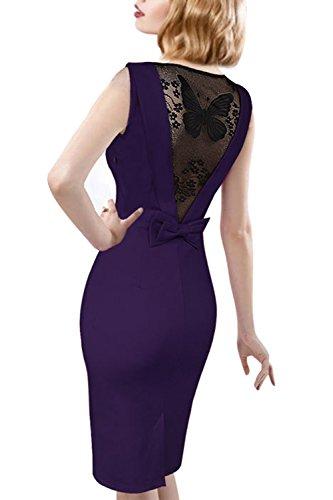 Damen Vintage Blütenspitze Knie Länge Bleistiftkleid Purple