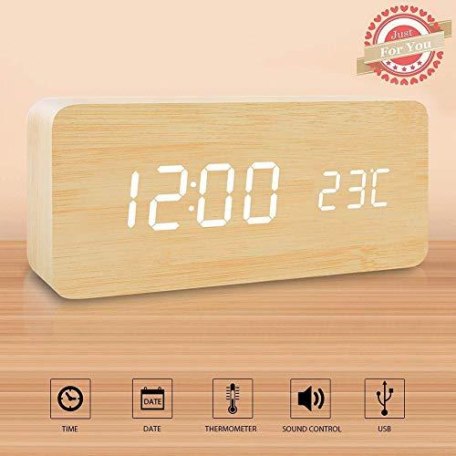 Wuudi Holz LED Wecker, Holz Cube Digital Schreibtisch Wecker, Dual Power, Zeit/Datum/Temperatur/Anzeige
