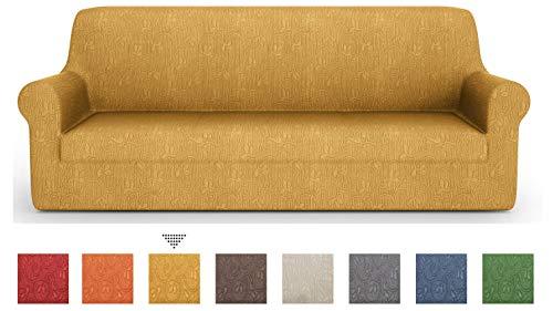Petti artigiani italiani - copridivano, copridivano elasticizzato, copridivano 4 posti, oro, tessuto jaquard, 100% made in italy