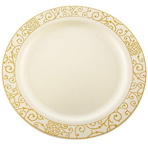 Stabile cremefarben Teller & Schalen mit Gold Randaus Einweg-Kunststoff, –Hochzeits- und Weihnachtsgeschirr aus Plastik von Mashers, plastik, cream & gold, 10