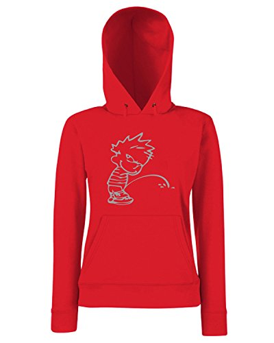 T-Shirtshock - Sweats a capuche Femme FUN0938 calvin peeon your text 2 Rouge