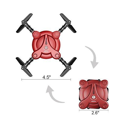 ANKOUJA RC Drohne Quadrocopter mit FPV Kamera | Live Video- klappbare Tragflügel | APP Wifi Hany Steuerung UAV | 3D Flip Rollen Höhenhaltung | 6-Achsen-Kreisel | Schwerkraft-Sensor RTF | 2x Akku ( Rot)