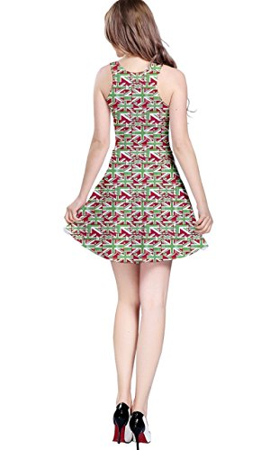 CowCow Damen Kleid Mehrfarbig Original - Green and Red