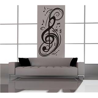 Noten Wandtattoo Musiknoten Notenschlüssel Kunst - ca. 60 x 120 cm (bxh) - SCHWARZ