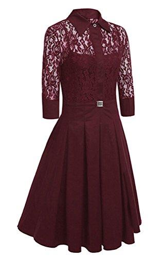Brinny Elegant Damen Kleider Spitzenkleid Cocktailkleid Winter Knielanges 3/4 Arm festlich hochzeit Weinrot