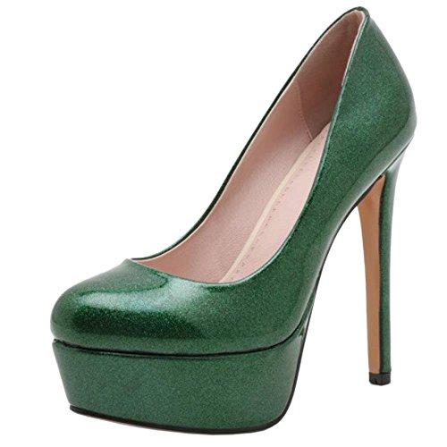 28165ff91172a2 COOLCEPT Femmes Mode Talon Aiguille Talons hauts Escarpins Chaussures  Briller For Soiree Vert
