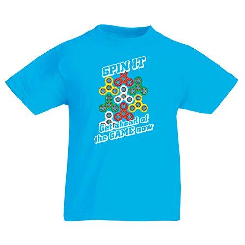 Kinder T-Shirt Für Fidget Spinner Spielzeug Enthusiasten - Stress Reducer Geschenk (5-6 years Hellblau Mehrfarben)