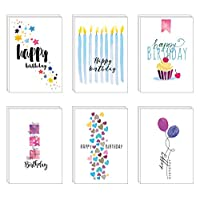48 Eco-Friendly Birthday Cards - 6 Designs Printed on Recycled Cardboard and with Blue Recycled Envelopes